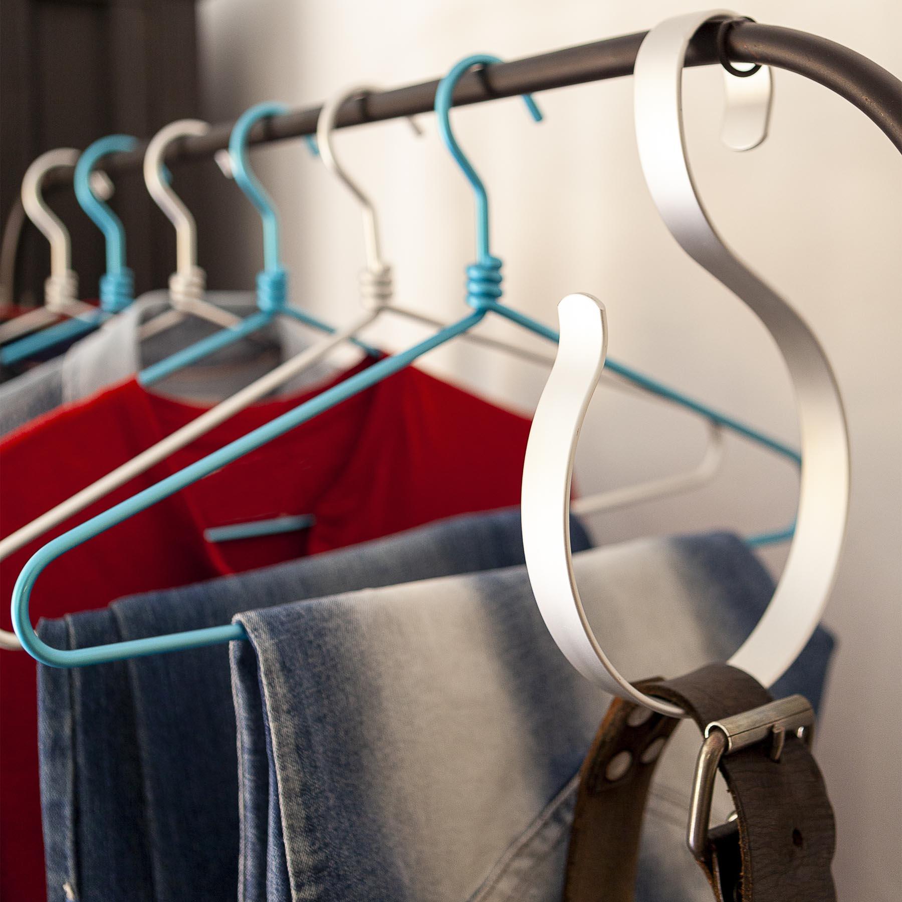 5 cintres en aluminium multifonction pour suspendre les ceintures, foulards, chèches, etc.