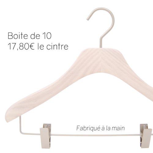 cintres de luxe en bois pour blouse, chemisiers, top avec pinces