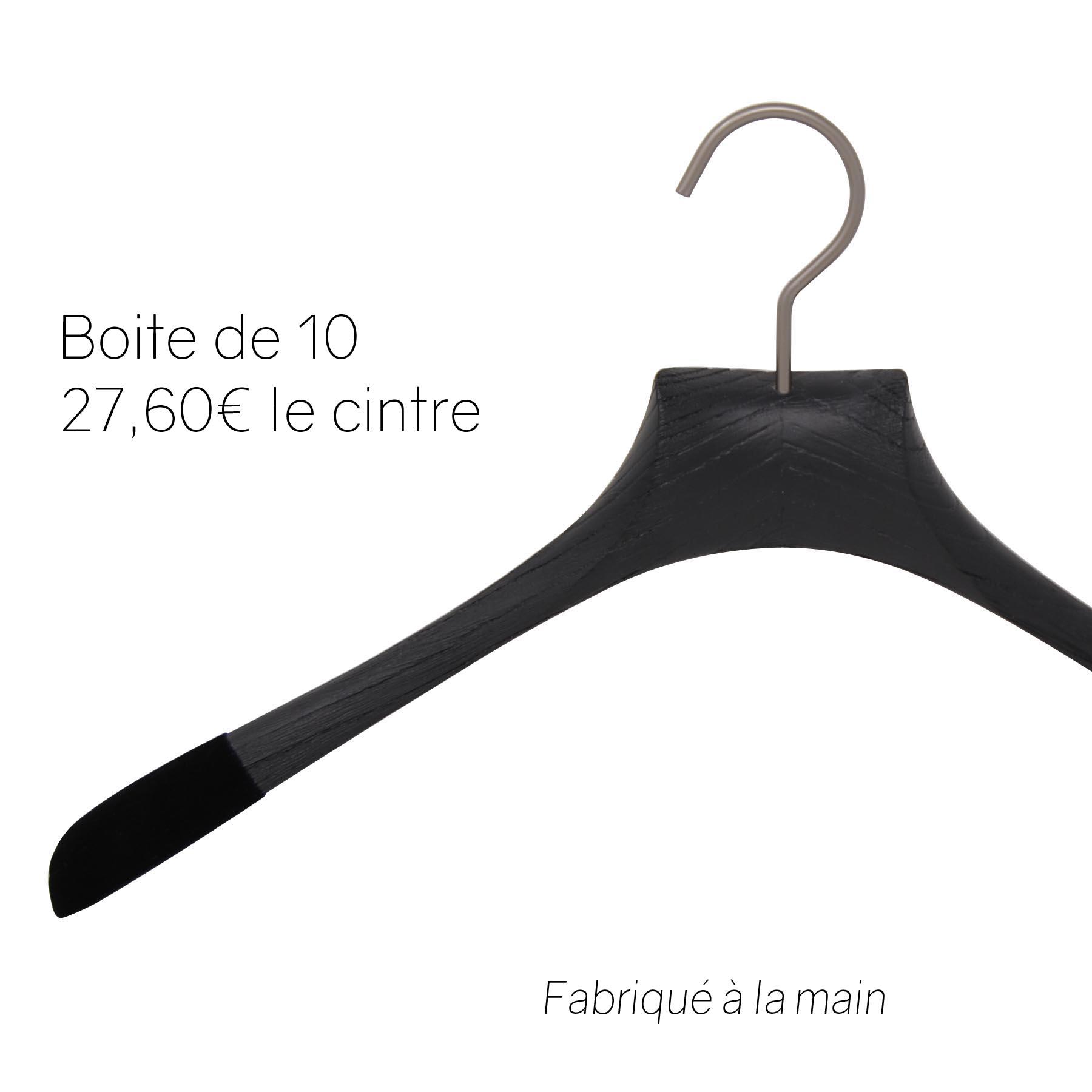 10 cintres pour chemises en frêne - Coloris noir brossé