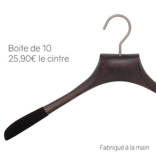 10 cintres luxe pour chemises en frêne - Coloris noyer mat