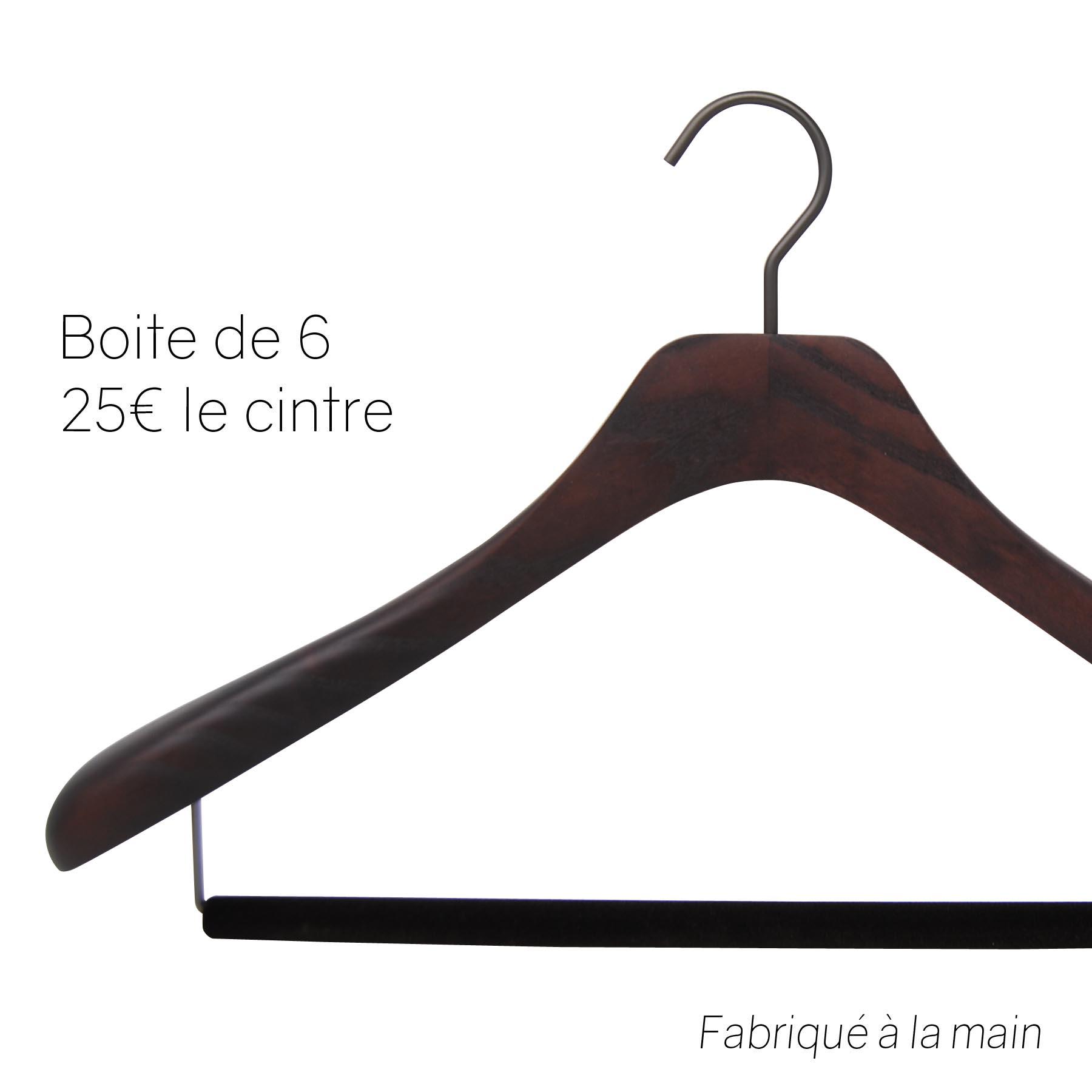 6 cintres de luxe pour costume en bois teinté noyer mat