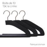 10 cintres pour pantalon en frêne - coloris noir brossé