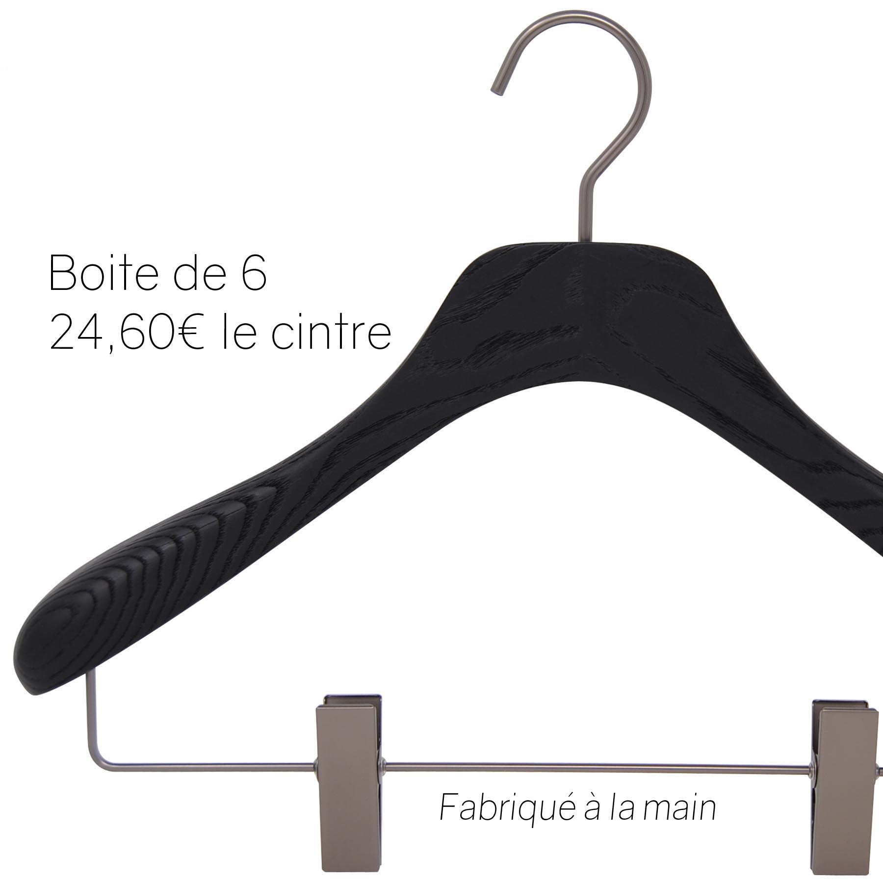 6 cintres pour veste, tailleur ou costume avec pinces - Coloris noir brossé