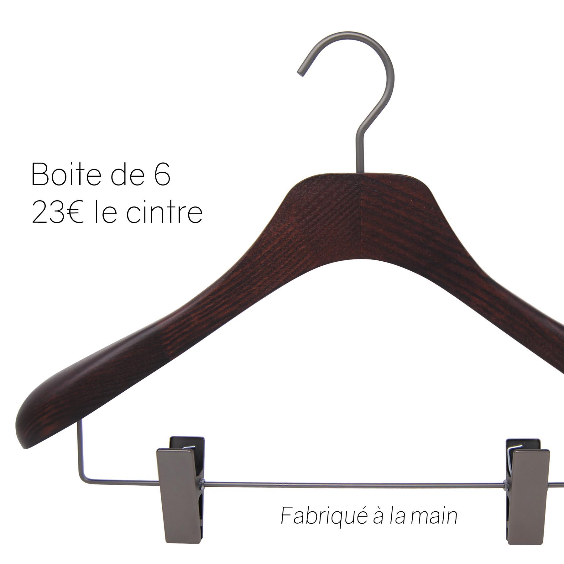 6 cintres pour veste et tailleur- coloris noyer mat