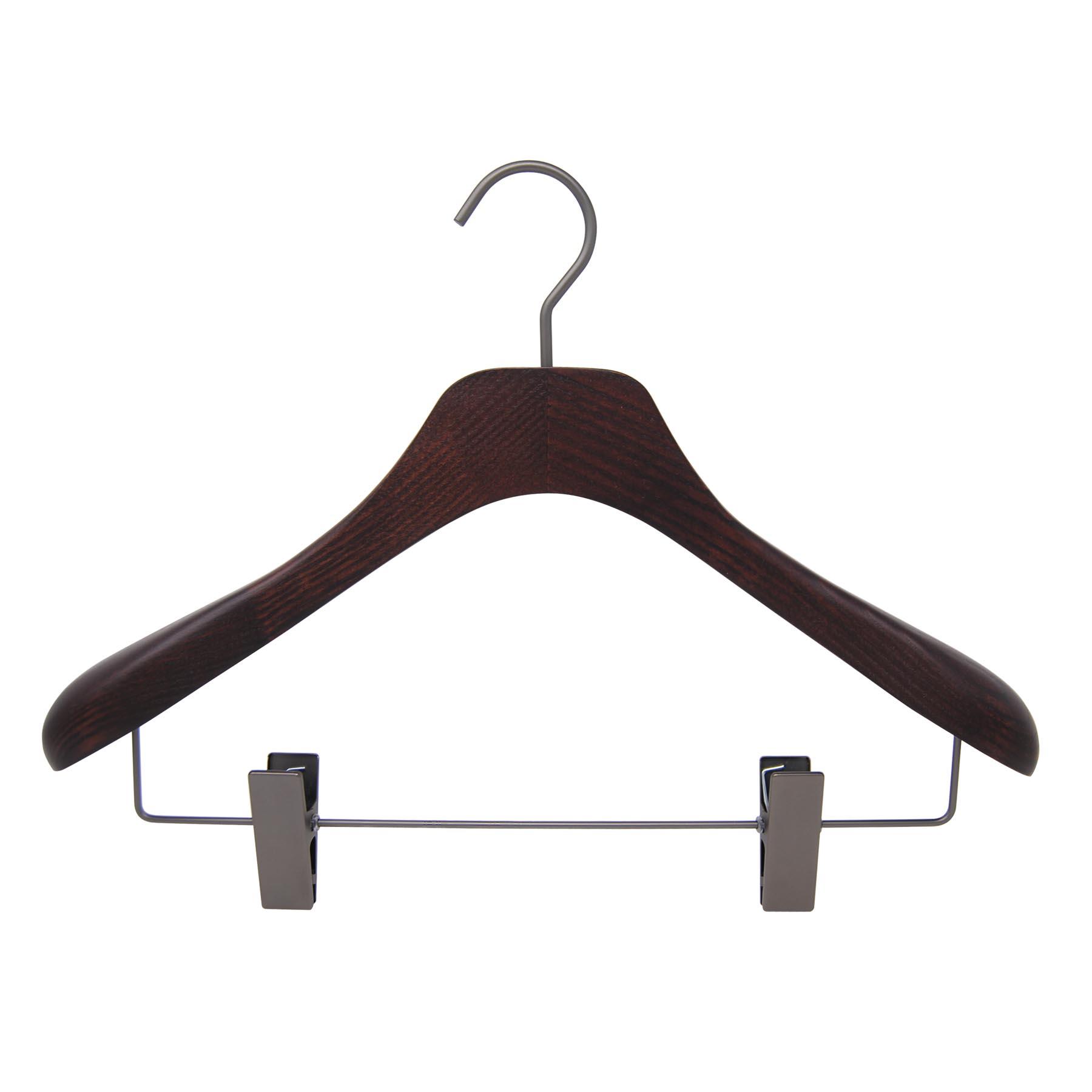 6 cintres pour veste et tailleur - coloris noyer mat