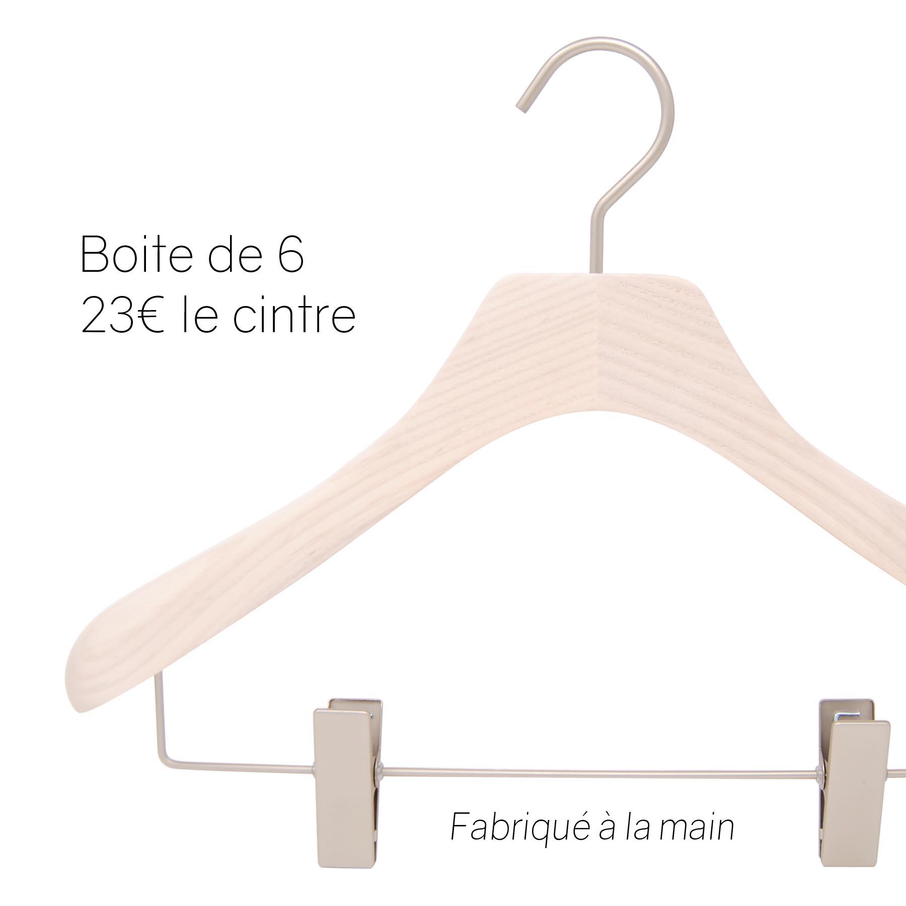 cintres en bois de luxe pour tailleur, veste, jupe et pantalon avec pinces