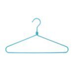 Blue turquoise aluminum hangers for a colorful dressing room