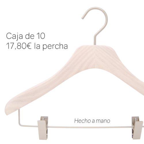 Percha de lujo en madera para camiseta, blusa, top con pinzas