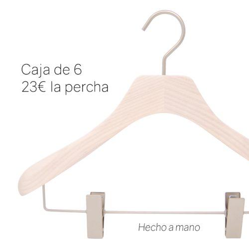 percha de lujo en madera para chaqueta, falda y pantalones
