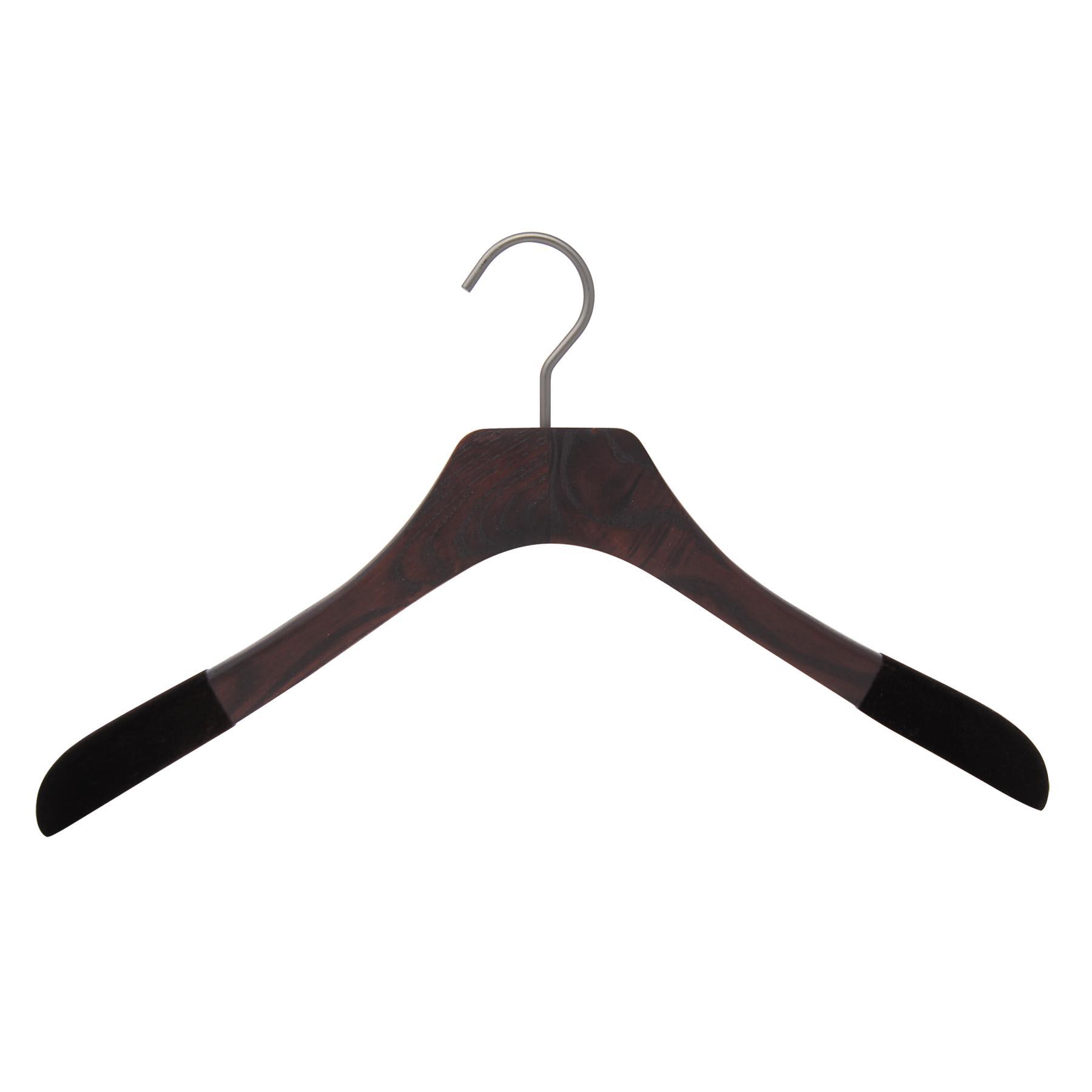 10 cintres pour chemises en frêne - Coloris noyer mat