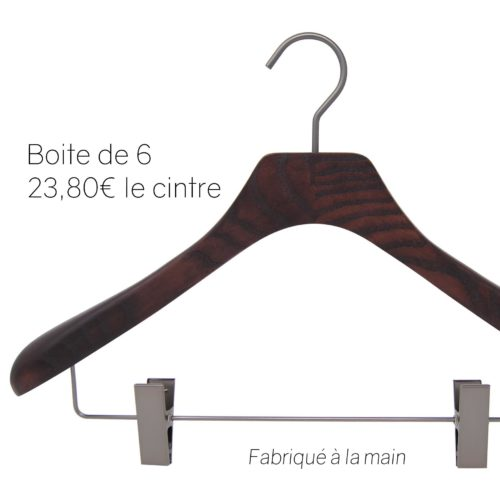 6 luxury wooden hangers for suit with clips