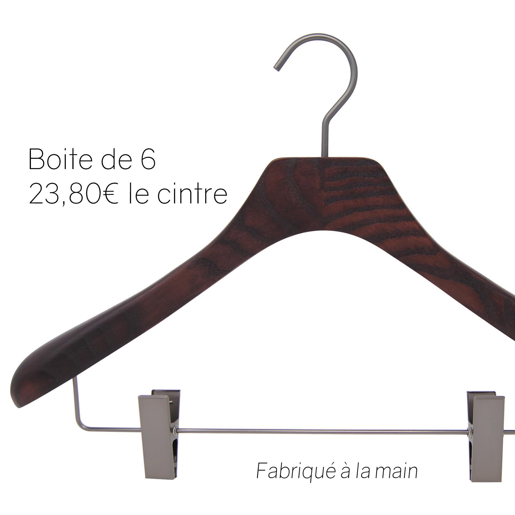 6 cintres pour veste, tailleur et costume - coloris noyer mat