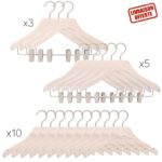 Pack de 18 cintres de luxe pour femme - 3 modèles de cintres - blanc lasuré