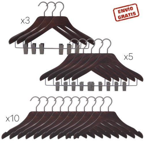 set de perchas de lujo en madera para mujer - 3 modelos