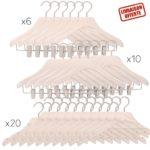 Pack de 36 cintres de luxe pour femme - 3 modèles de cintres - blanc lasuré