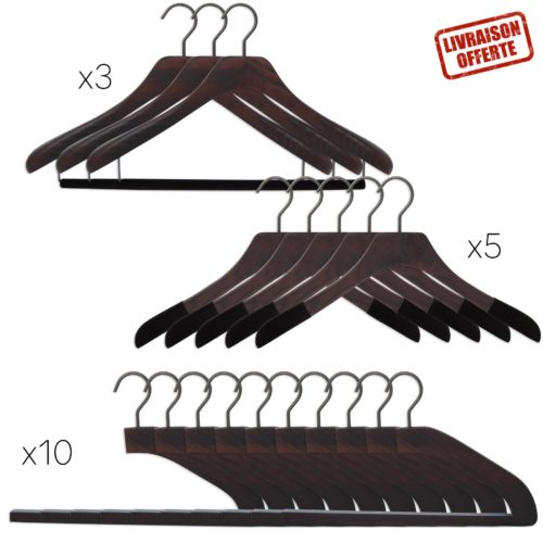 18 luxury wooden hangers for suits, shirts and trousers