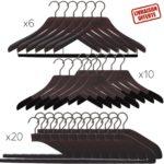 36 cintres de luxe en bois pour les costumes, chemises et pantalons