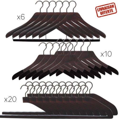36 wooden luxury hangers for suits, shirts and trousers