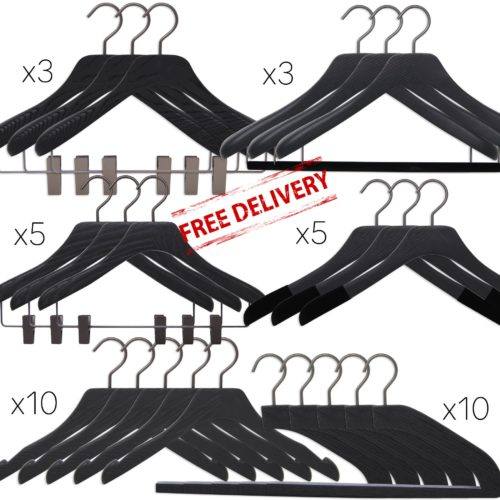 Set of luxury wooden hangers for man and woman - 3 shapes