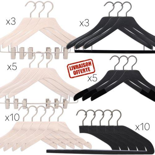ensemble de cintres de luxe pour homme et femme, coloris noir et blanc lasuré, 6 formes de cintres