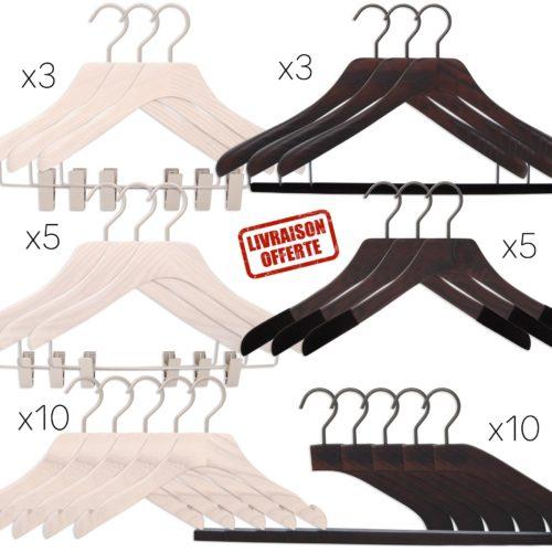 ensemble de cintres de luxe pour homme et femme, coloris noyer et blanc lasuré, 6 formes de cintres