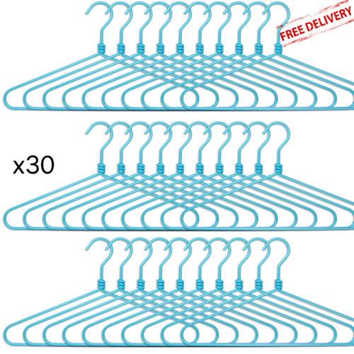 set of 30 aluminium hangers - blue