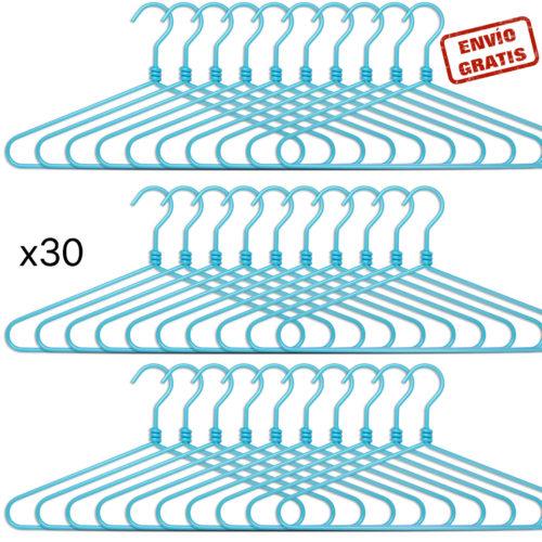 set de 30 perchas de aluminio - azul