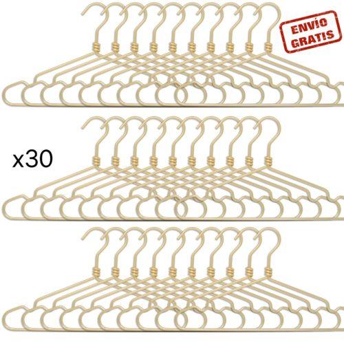 set de 30 perchas de aluminio - dorado