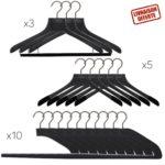 Ensemble de cintres de luxe pour homme en bois noir pour le dressing