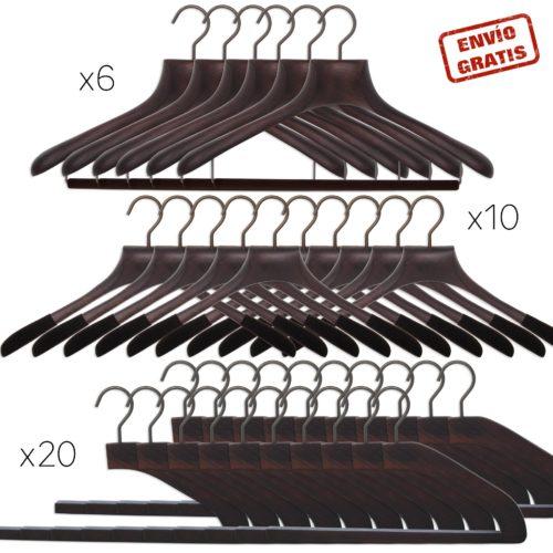 36 perchas de madera noble de lujo para vestidor masculino