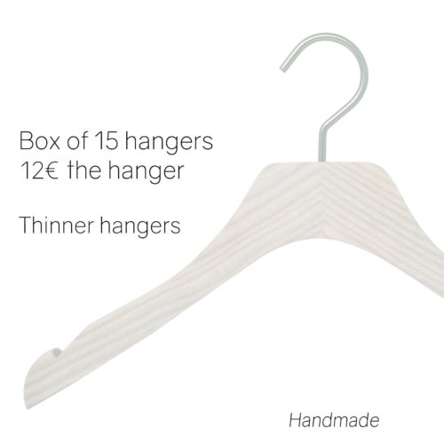 Hangers for dresses, ash wood, whitewashed color
