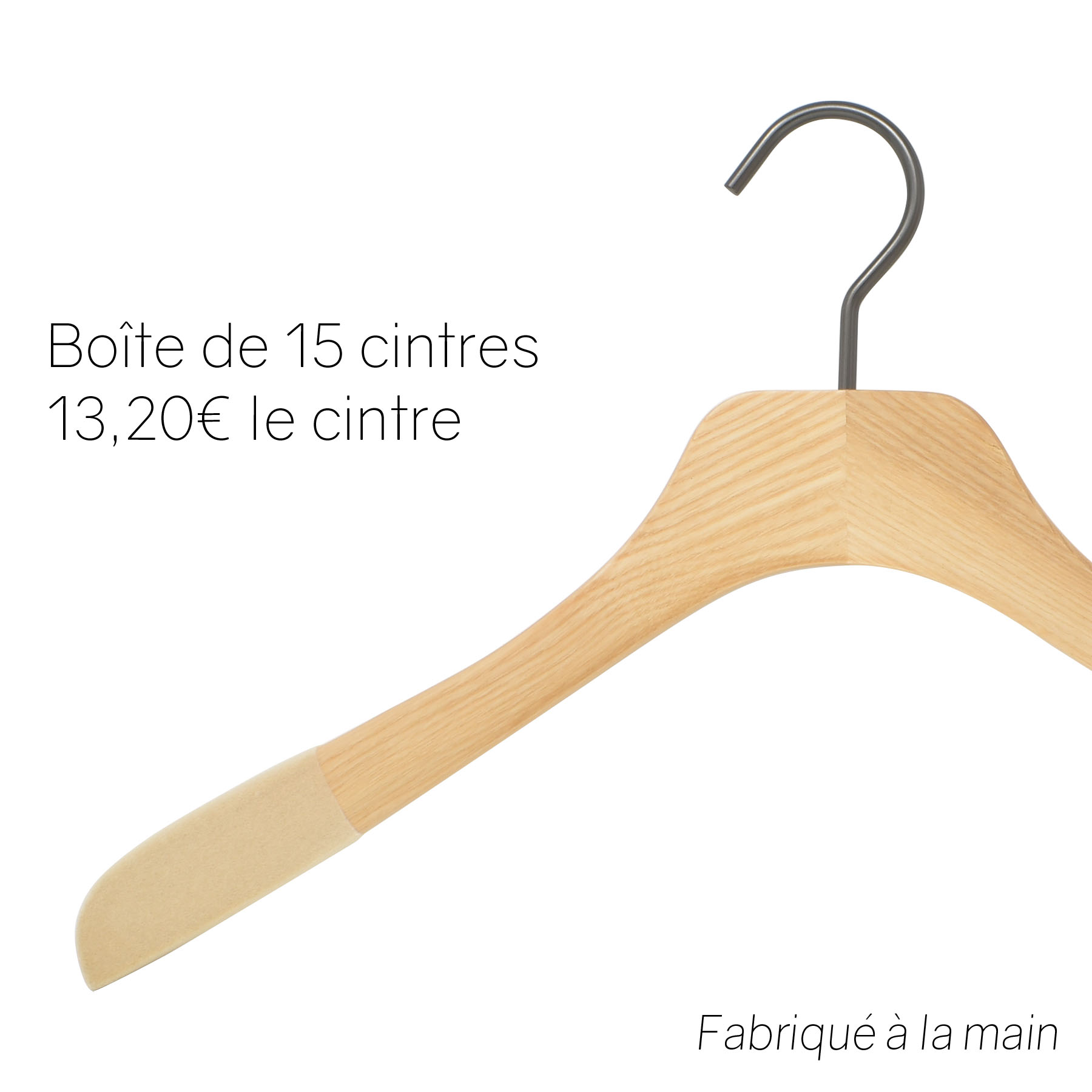Cintres en bois de luxe pour chemise - vernis naturel